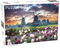 Puzzel Landscape: Old Mills and Tulips - 500 stukjes