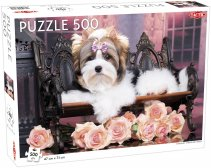 Puslespil 500 brikker Yorkshire Terrier with Roses