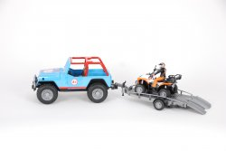 Jeep Cross Country Racer blue with driver, trailer and quad