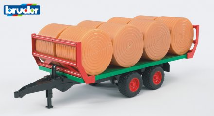 Bale transport trailer with 8 round bales