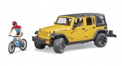 Jeep Wrangler Rubicon Unlimited with 1 mountain bike and cyclist