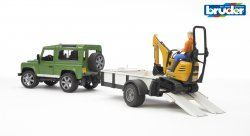 Land Rover Defender one axle trailer, JCB micro excavator + worker
