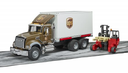 MACK Granite UPS logistics truck with forklift