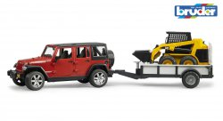 Jeep Wrangler Unlimited Rubicon, one axle trailer + CAT Skid steer loader