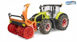 Claas Axion 950 with snow chains and snowblower