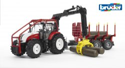 Steyr CVT 6230 Forestry tractor with trailer and 4 trunks