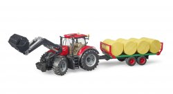 Case IH Optum 300 CVX with frontloader with bale transport trail