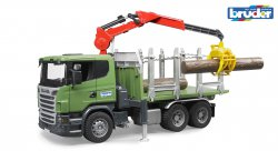 Scania R-series Timber truck with loading crane and 3trunks