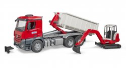 MB Actros Truck with Roll-off container + Schaeff HR16 Mini Excavator