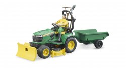 Bworld John Deere Lawn Tractor with trailer and gardener