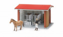 Horse stable with figure, horse and accessories