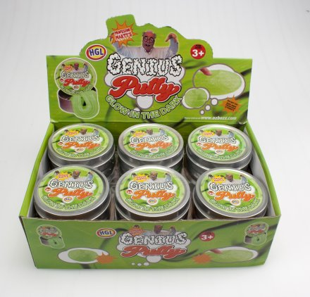 Genius putty Glow in the dark 12 pcs display