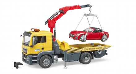 MAN TGS Tow truck with BRUDER roadster and Light and sound module