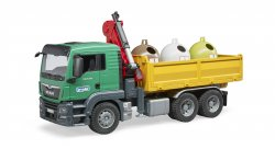 MAN TGS Truck with 3 glass recycling containers and bottles