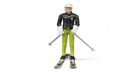 Skier with accessories
