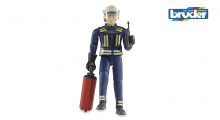 Fireman with helmet, gloves and accessories