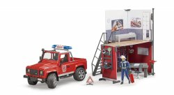 Bworld Fire Station with Land Rover Defender