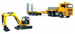 MAN TGA Low loader truck with Cat mini excavator