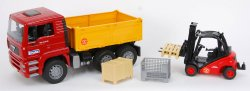 MAN TGA tipper-truck with Linde fork lift H30D with box, box-type pallet and pallets