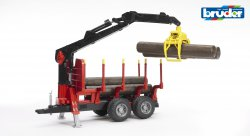 Forestry trailer with loading crane, 4 trunks and grab