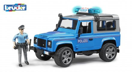 Land Rover Defender St. Wagon police vehicle with policeman and accessories