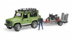 Land Rover Defender Station Wagon with trailer, Ducati Scrambler Cafe Racer and driver