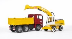 MAN TGA Construction truck and Liebherr Excavator