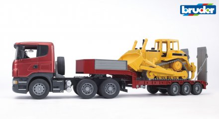 Scania R-Series Low loader truck with CAT Bulldozer