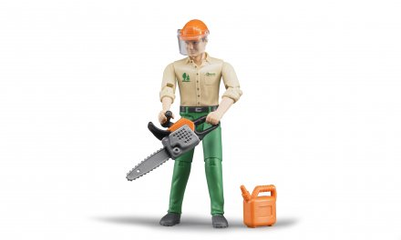 Forestry worker with accessories
