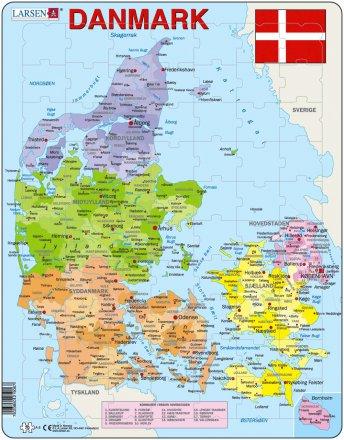 danmarks karta Larsen Danmark Karta med landskap och landskapsvapen (Maxi) | TACTIC danmarks karta